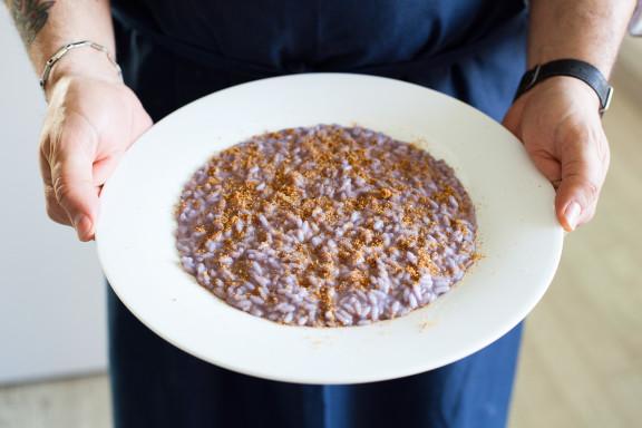 Risotto cavolo e bottarga di muggine all'Armagnac Simposio - chef Francesco Pesce